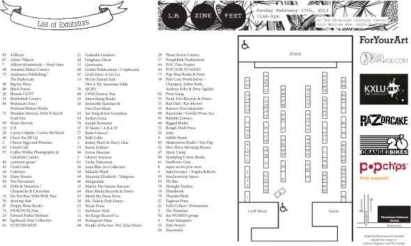 Exhibitor's Table Map